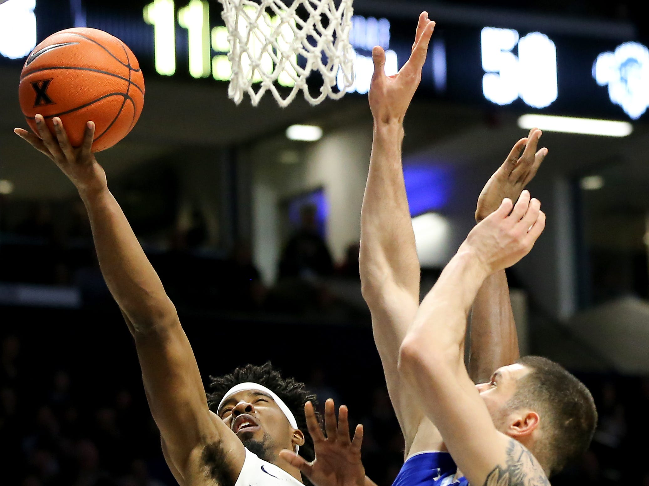 Xavier Musketeers guard Quentin Goodin (3) goes up for a basket in the second half of an NCAA college basketball game against the Seton Hall Pirates, Wednesday, Jan. 2, 2019, at the Cintas Center in Cincinnati. Seton Hall won 80-70.