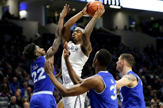 Xavier Musketeers forward Tyrique Jones (0) goes up for a shot in the second half of an NCAA college basketball game against the Seton Hall Pirates, Wednesday, Jan. 2, 2019, at the Cintas Center in Cincinnati. Seton Hall won 80-70.