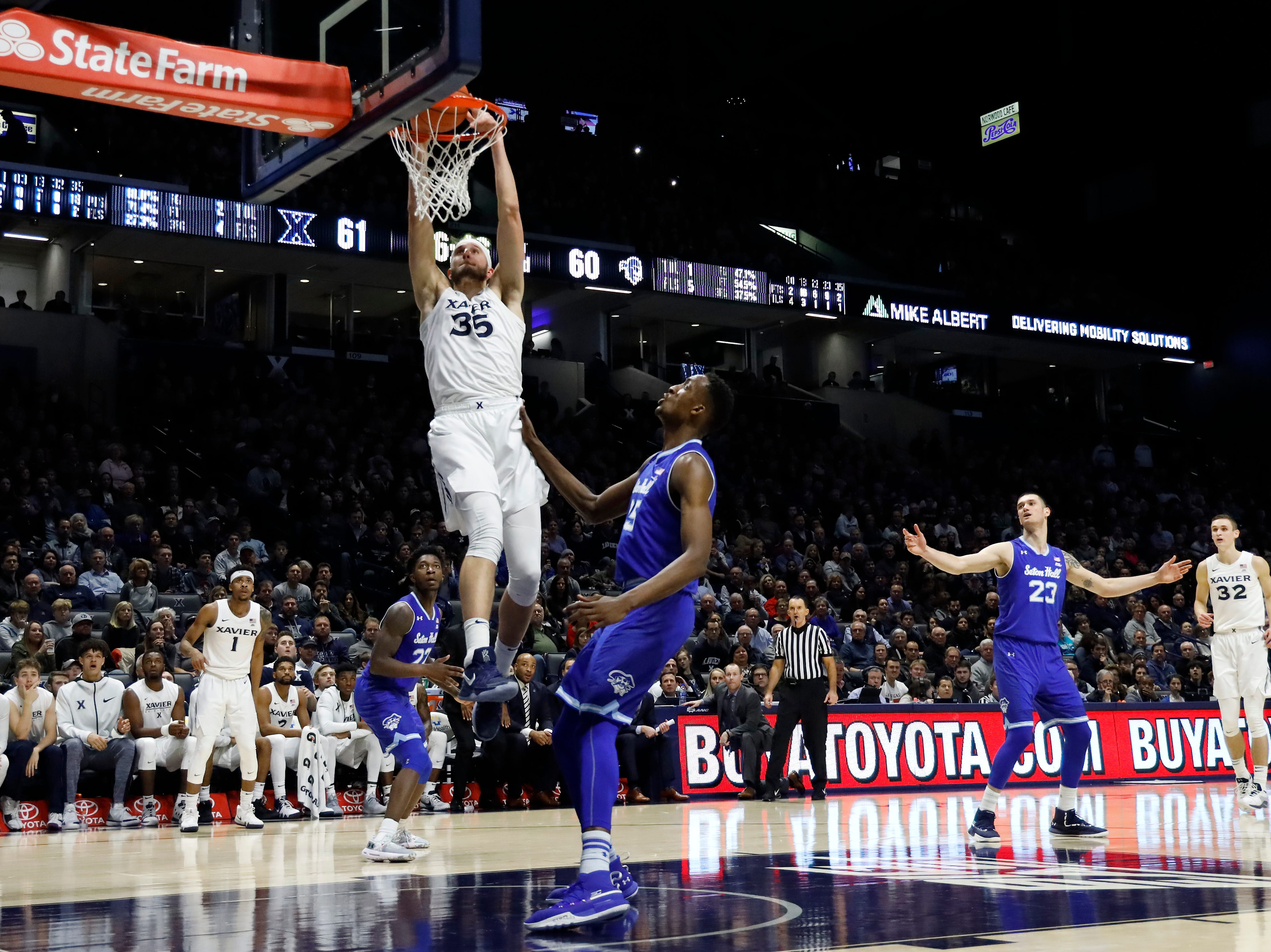 Xavier Musketeers forward Zach Hankins (35) dunks in the second half of an NCAA college basketball game against the Seton Hall Pirates, Wednesday, Jan. 2, 2019, at the Cintas Center in Cincinnati. Seton Hall won 80-70.