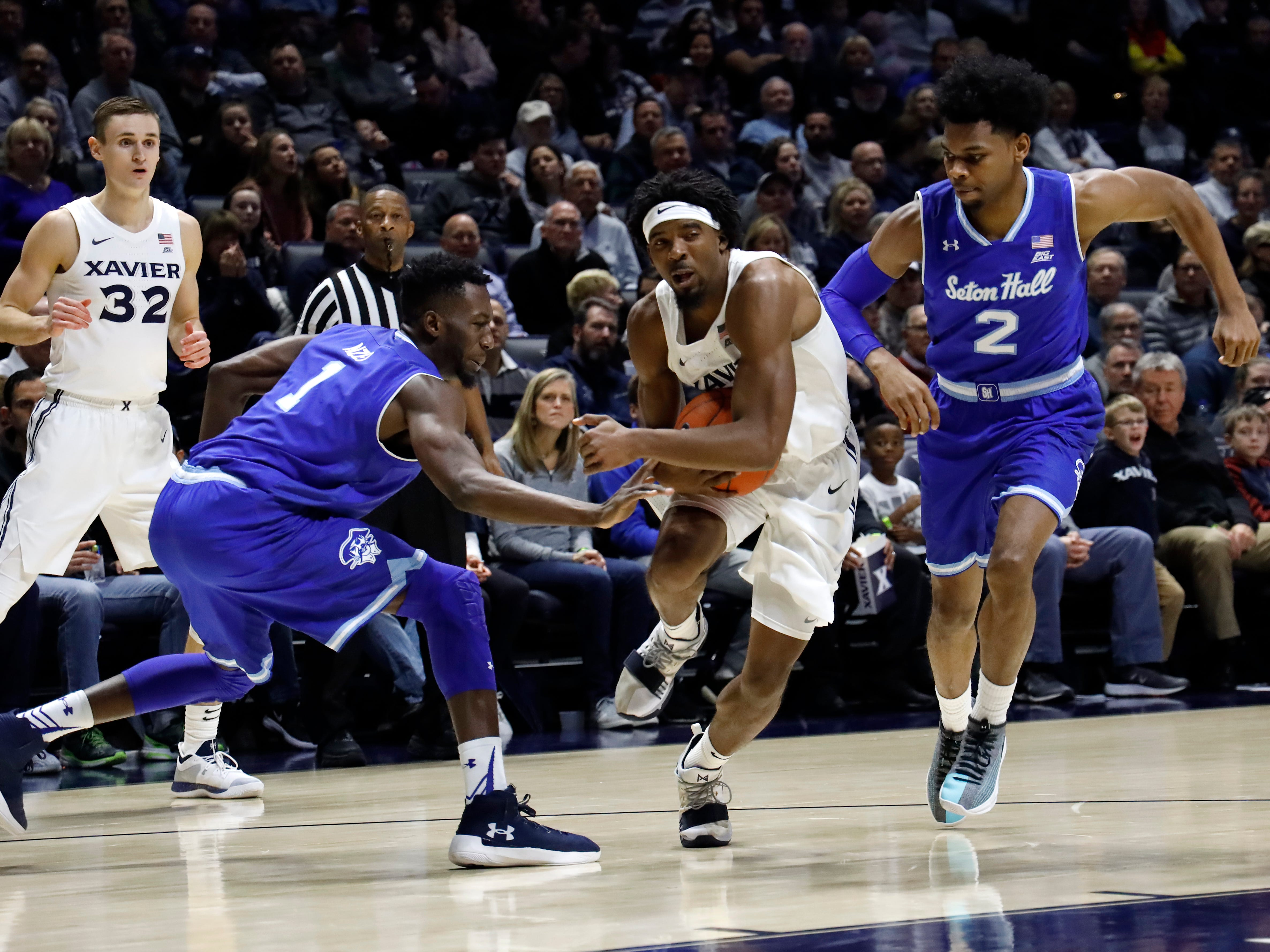 Xavier Musketeers guard Quentin Goodin (3) drives to the basket in the first half of an NCAA college basketball game against the Seton Hall Pirates, Wednesday, Jan. 2, 2019, at the Cintas Center in Cincinnati.