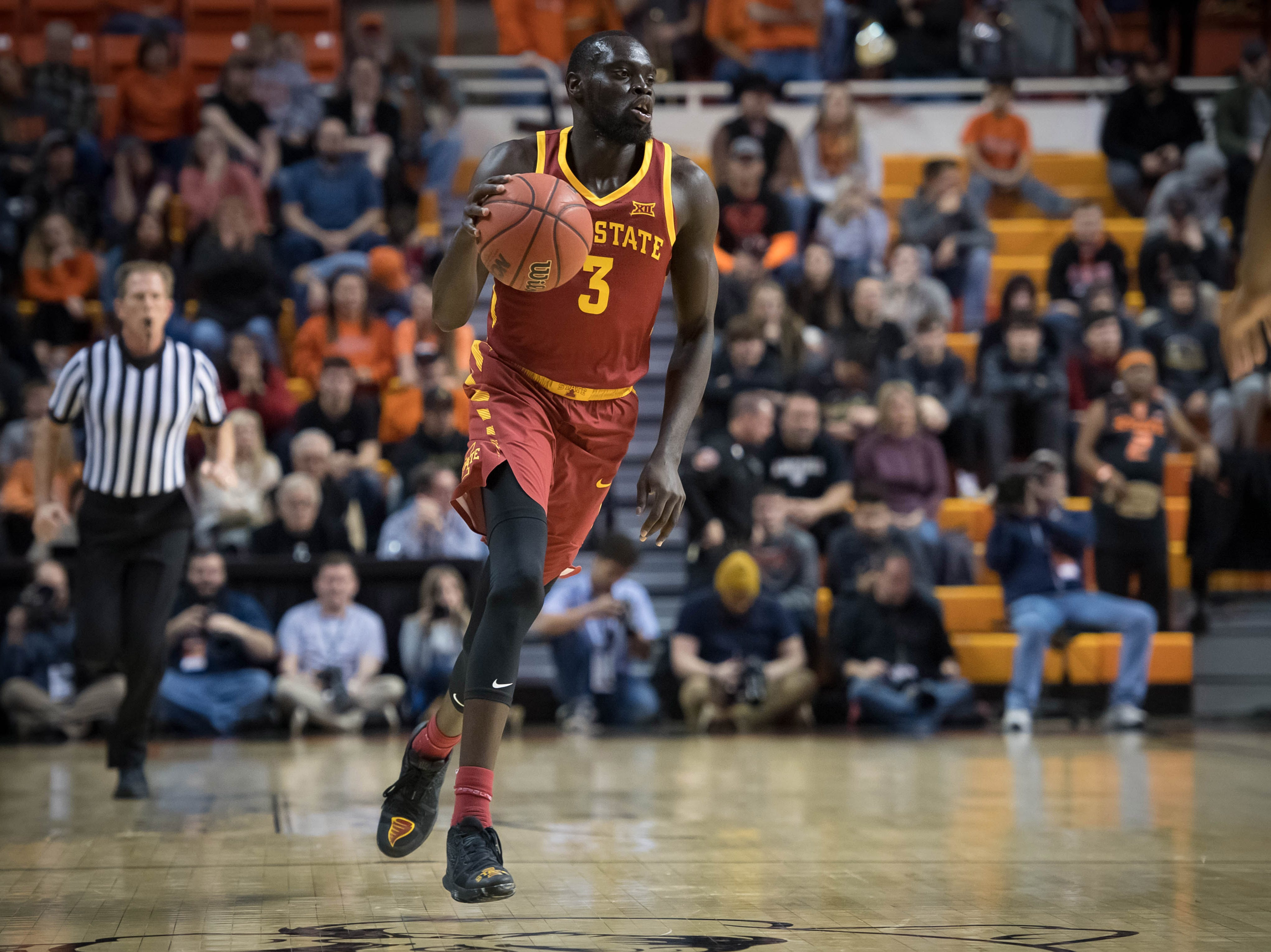 Jan 2, 2019; Stillwater, OK, USA; Iowa State Cyclones guard Marial Shayok (3) dribbles the ball against the Oklahoma State Cowboys during the first half at Gallagher-Iba Arena.