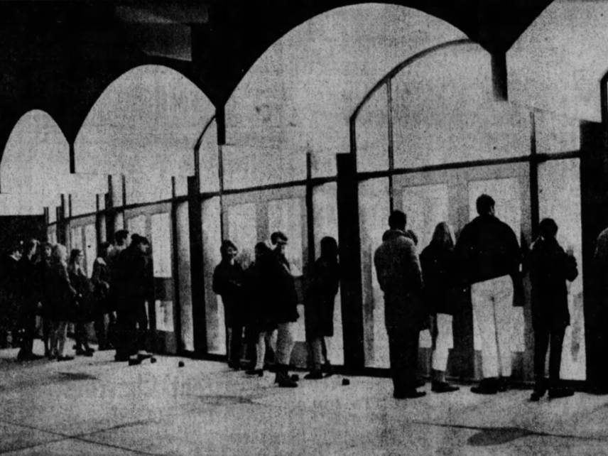 Boys' basketball fans packed the Lincoln High School gym to capacity, leaving these latecomers outside looking in as Des Moines Roosevelt beat West Des Moines Valley, 56-55, on March 4, 1969.
