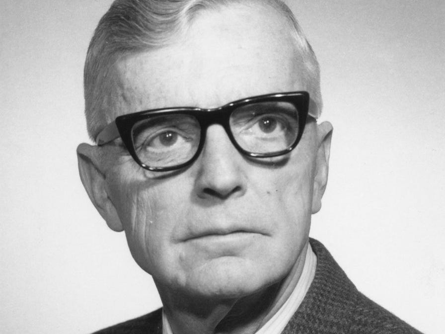 Allan Hoschar, who worked as city editor, religion editor and legislative reporter during a 40-year career at the Des Moines Register & Tribune, is pictured in 1969. He retired in 1972.