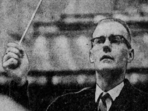 Des Moines Youth Orchestra director James Brauninger shown during a 1969 rehearsal.