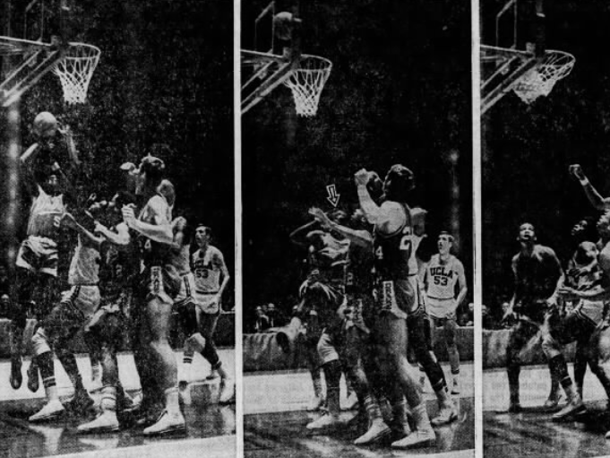 Drake's Dolph Pulliam (5) hits the final Bulldog basket that pulled them within 1 point, 83-82, of UCLA during a NCAA Tournament Final Four game in Kentucky, March 21, 1969. The defending champion Bruins won 85-82.
