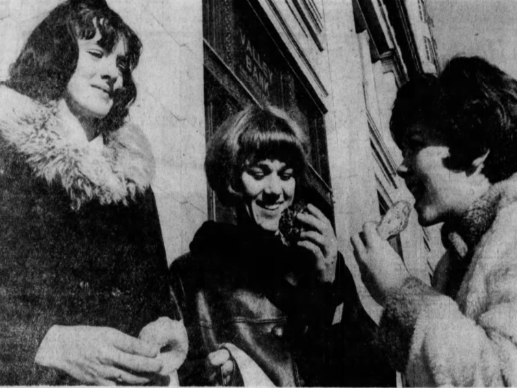 West Central (Maynard) girls, from left,  guard Patty Spratt, forward Jean Kuennen and team manager Nancy Samuelson start their day in Des Moines with a light breakfast before opening the state girls' basketball tournament against Audubon.
