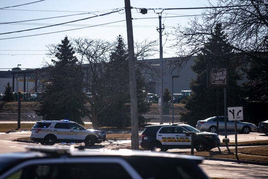 Ankeny police and Polk County sheriff's deputies investigate an an apparent shooting on SW Linden Street on Thursday, Jan. 3, 2019, in Ankeny. One person is dead, Police Lt. Brian Kroska told reporters that authorities suspect a suicide.