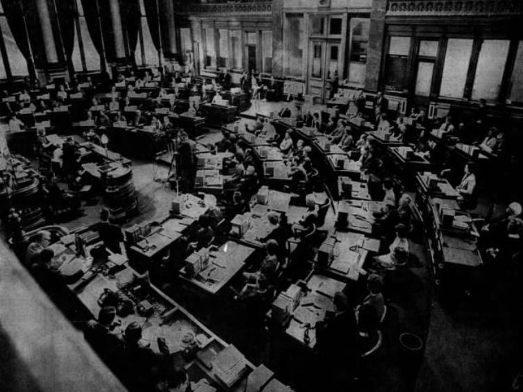 The scene in the Iowa Senate chambers as the 63rd Iowa Legislature opened on Monday, Jan. 1969.