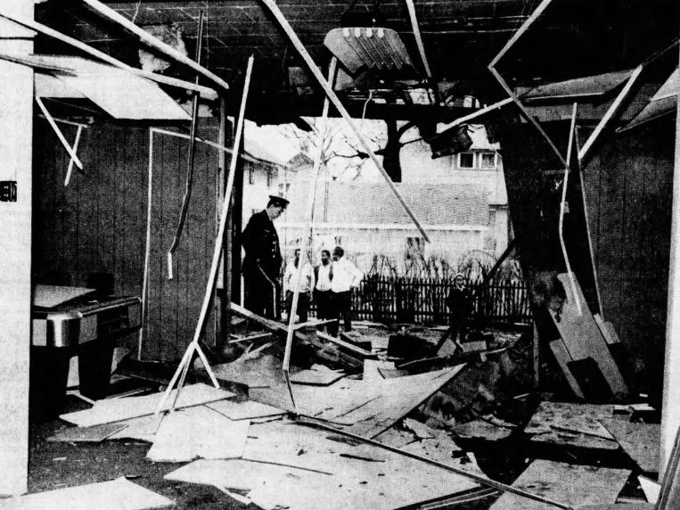 This photo taken from inside a game room shows the damaged ceiling and walls after an explosion April 3, 1969, at Soul Village on Forest Avenue in Des Moines. The blast, in which dynamite apparently was used, also shattered windows in several homes in the area and was heard by residents several miles away. No injuries were reported. Damage was estimated at more than $20,000.