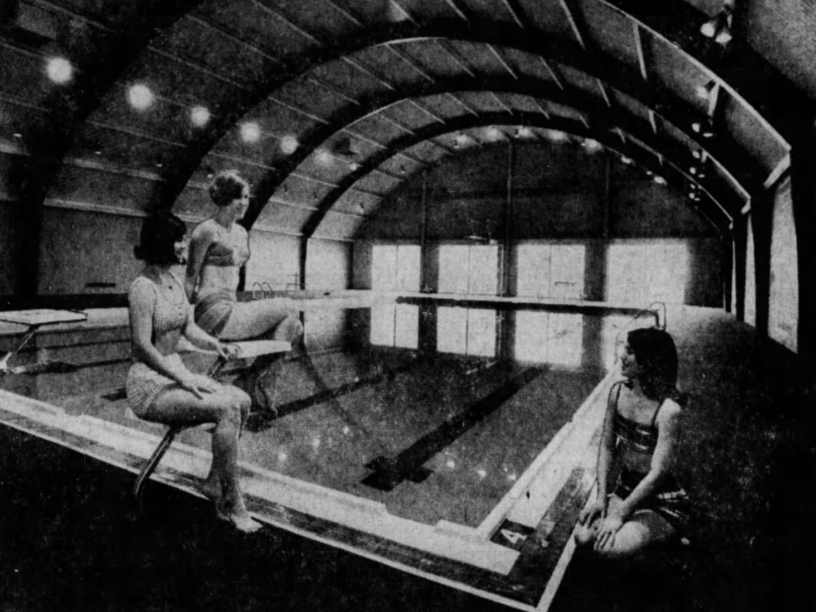 Pictured at the swimming pool in Graceland College's new (in 1969) Eugene E. Clossen Physical Education Center, from left, Jane Russell of Independence, Missouri; Jane Myatt of Maquoketa; and Pearl Spargo of Independence, Mo.