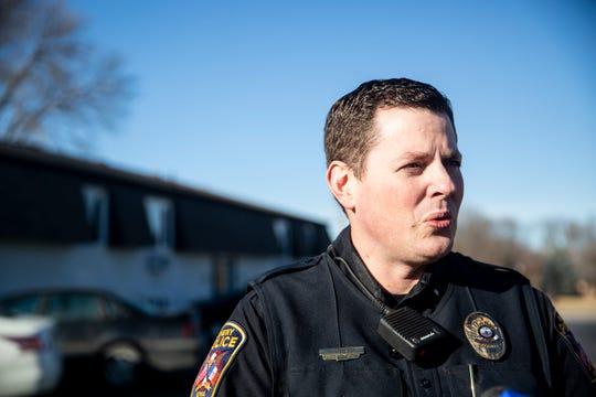 Ankeny Police Lt. Brian Kroska talks to the media in January.