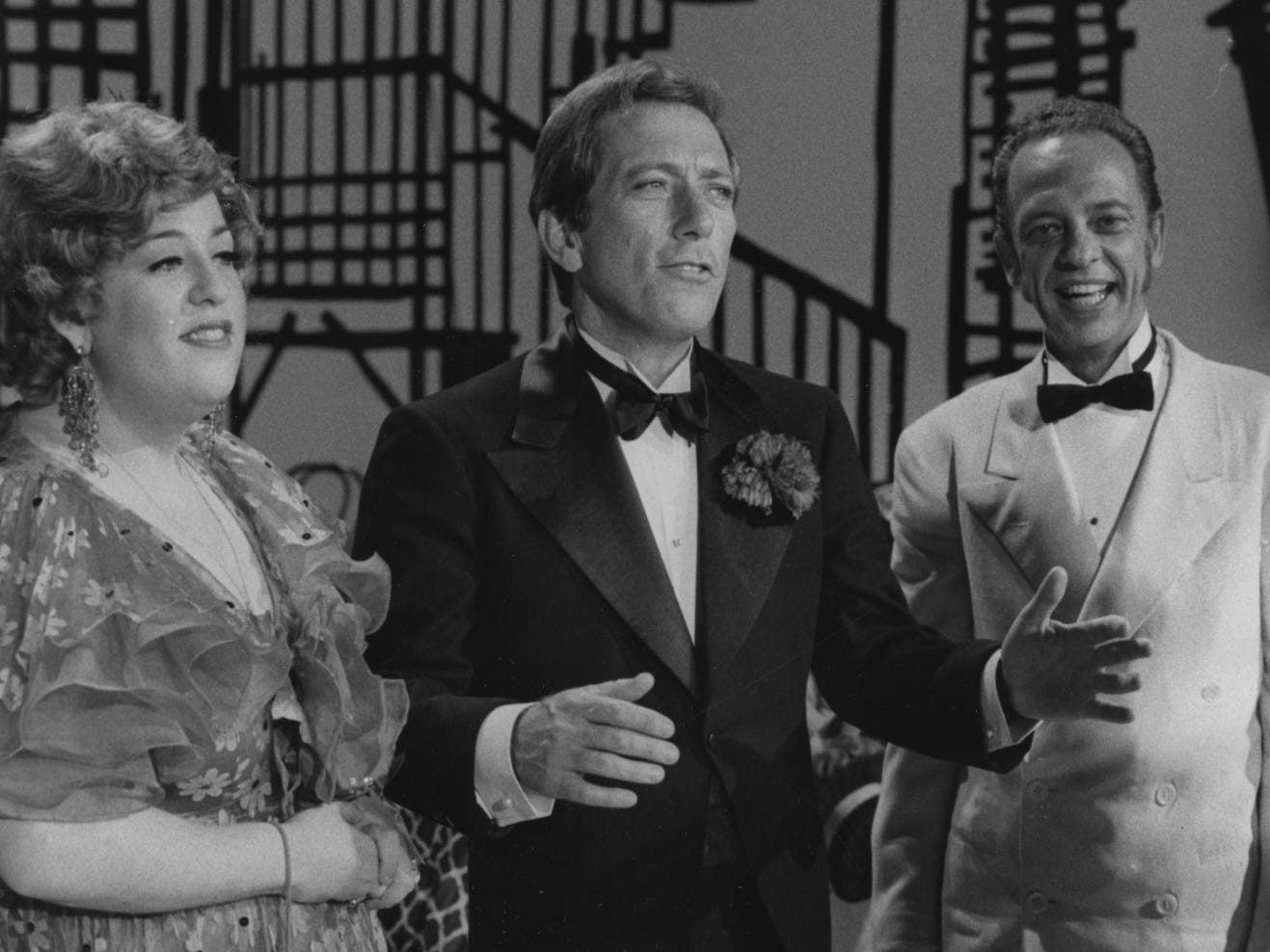 "Mama Cass Elliott, Iowa native Andy Williams and Don Knotts perform a musical number during the Oct. 18, 1969, broadcast of ""The Andy Williams Show."""
