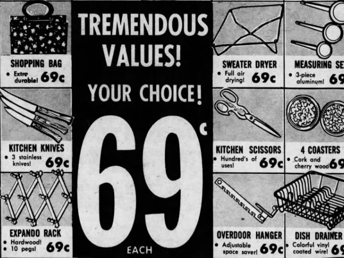An advertisement in the Jan. 5, 1969 Des Moines Register for Atlantic Thrift Center, which had locations on East 14th Street and Euclid Avenue, features numerous items that cost just 69 cents.