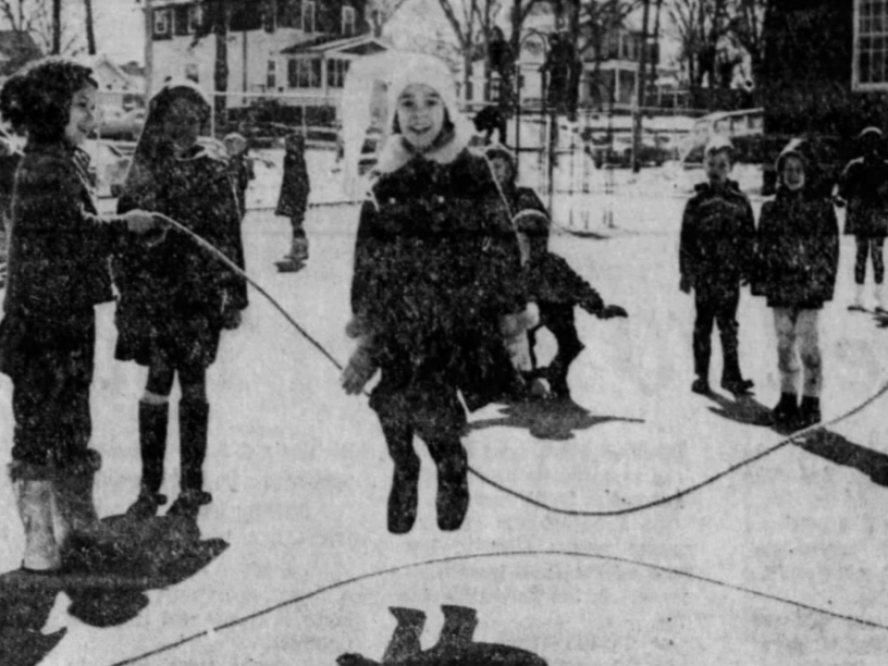 First-graders at Kirkwood School in Des Moines play outside on a 30-degree day in mid-March 1969. Tina Frey jumps while Dawn Flor, left, and Debbie Lippincott turn the rope.