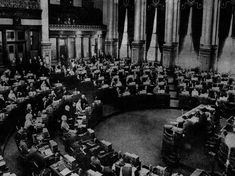 The scene in the Iowa House chambers as the 63rd Iowa Legislature opened on Monday, Jan. 13 1969.
