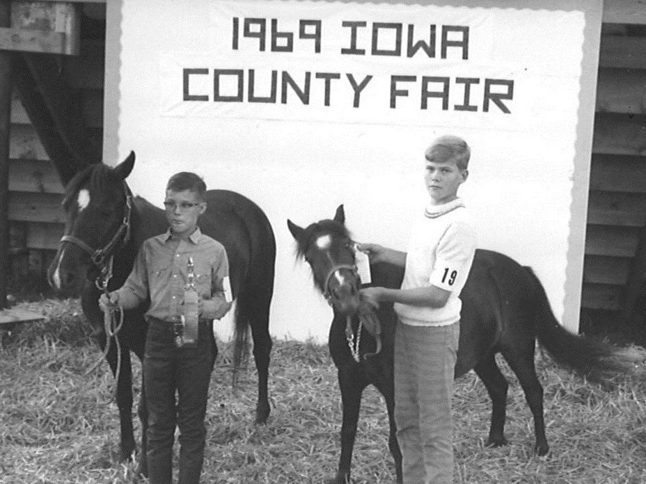 A typical exhibit -- here, horses -- during the 1969 Iowa County Fair.