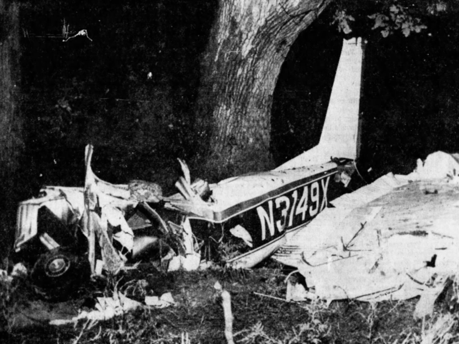 This is the small private plane in which former heavyweight boxing champion Rocky Marciano, 45, and two Des Moines men, Frank Farrell, 22, and Glen Belz, 37, were killed in a crash near the Newton airport Aug. 31, 1969. The plane, a Cessna 172, was en route from Chicago to Des Moines.