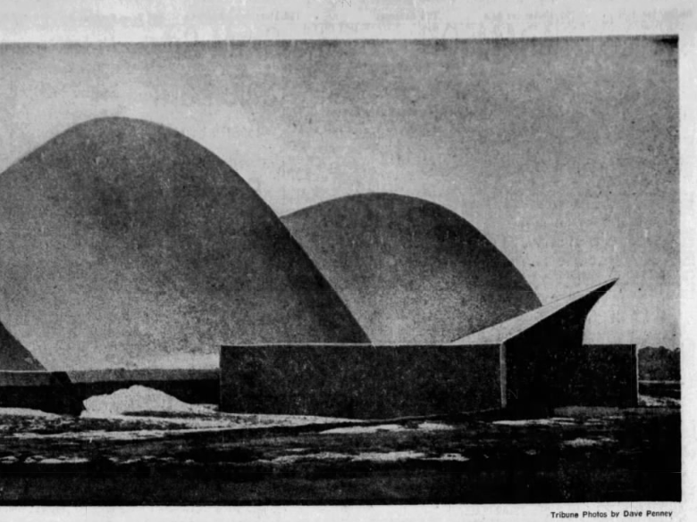 Exterior view of the new (in 1969) Eugene E. Clossen Physical Education Center, an unusual synthetic-foam-roofed athletic plant on the campus of Graceland College in Lamoni.