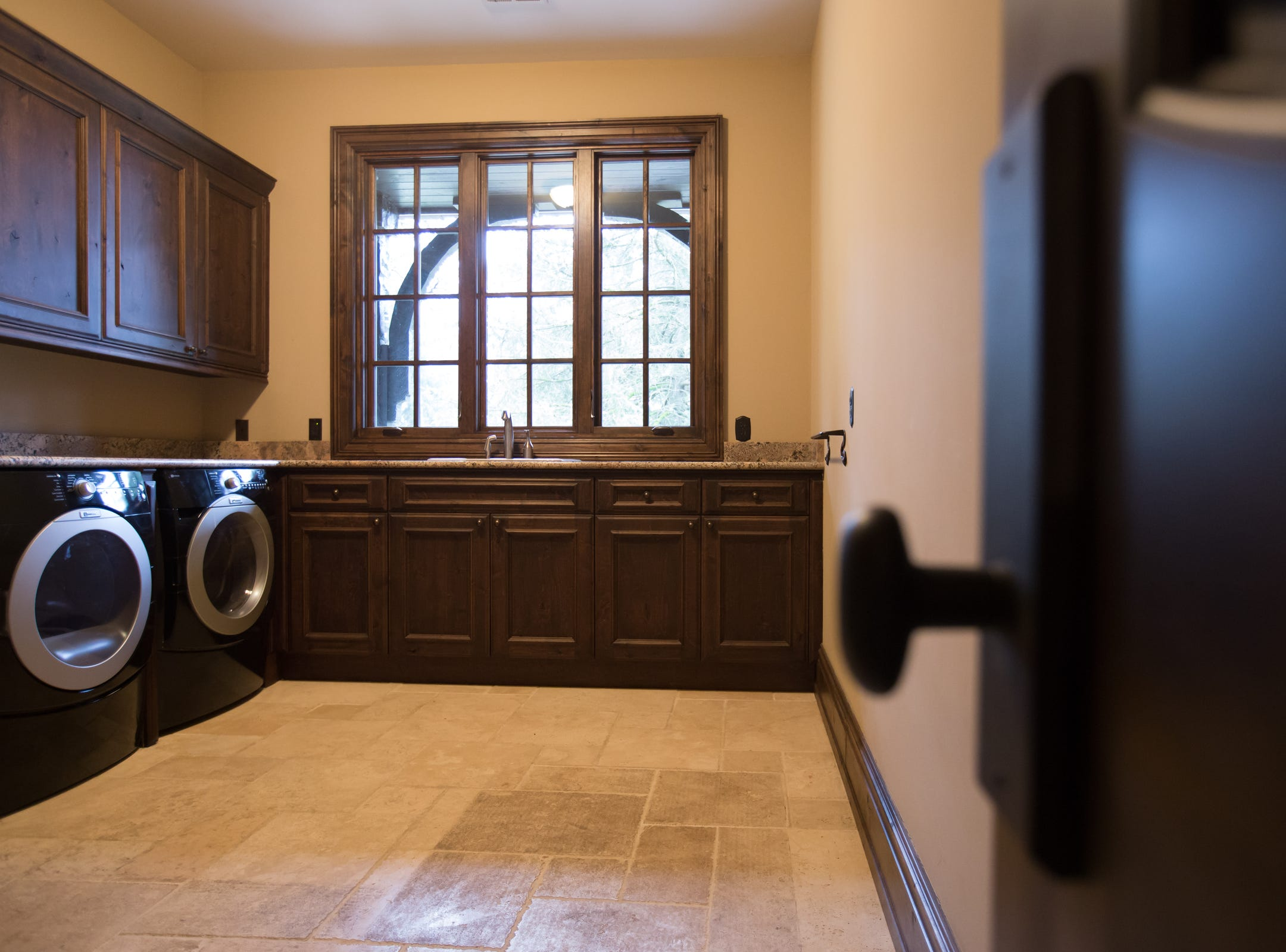A first floor laundry room.