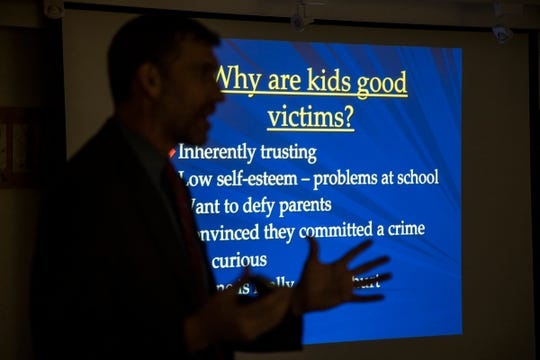 Matthew Roth, chief of the Major Crimes Unit of the United States Attorney's Office in Detroit, speaks to parents in December about social media and the danger of sexting. The program was hosted by the Tri-Community Coalition at the Huntington Woods Public Library.