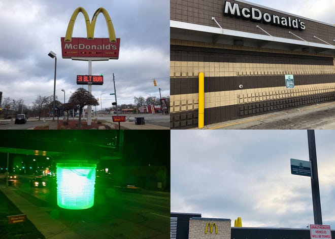 A McDonald's franchise at 9815 Grand River has kept up signage indicating participation in Project Green Light despite the fact that it was kicked out of the program in the spring. It's one of four Detroit McDonand's at the center of a lawsuit filed Jan. 2, 2019 by the city. (Bottom left image is just a close up of a green light and not from this specific McDonald's)
