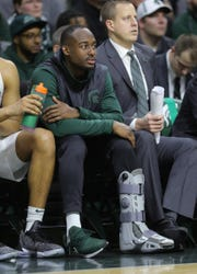 Michigan State guard Joshua Langford watches the second half against Northwestern, Jan. 2, 2019 at the Breslin Center in East Lansing.