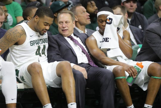 Michigan State forward Nick Ward, head coach Tom Izzo and guard Cassius Winston on the bench during second half action against Northwestern, Jan. 2, 2019 at the Breslin Center.