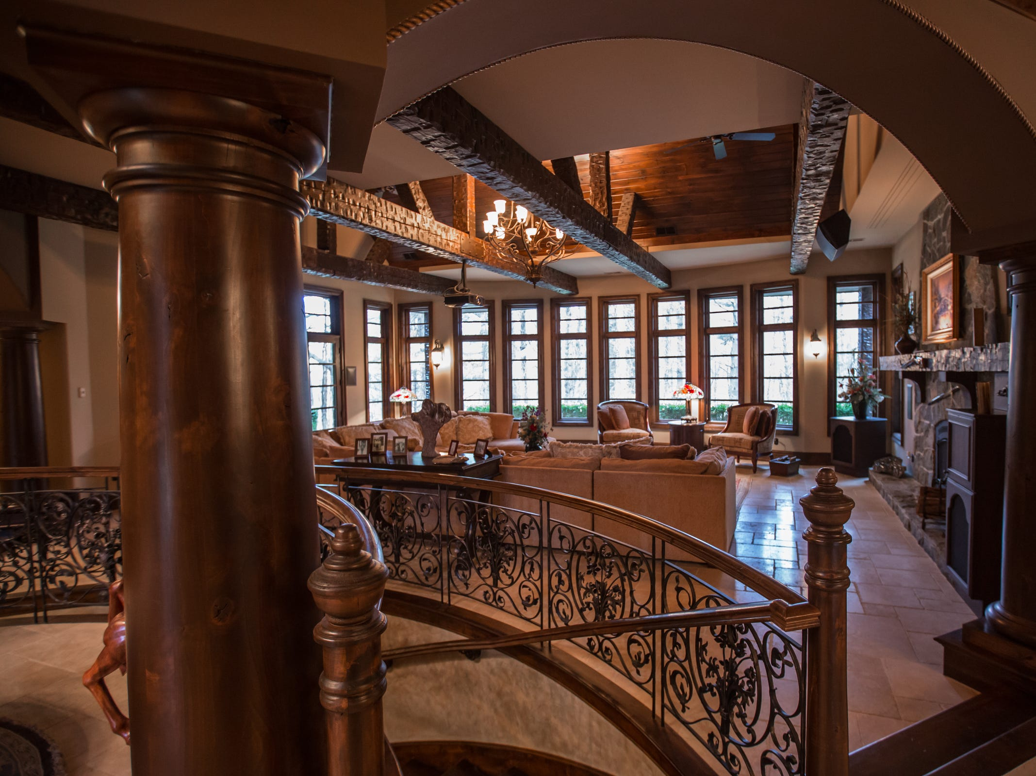 A view of the great room of the home envisioned after the Biltmore Estate designed by Alex Bogarts and built by an award winning builder as his own personal residence.