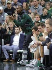 Injured Michigan State guard Joshua Langford supports his team against Northwestern, Jan. 2, 2019 at the Breslin Center in East Lansing.