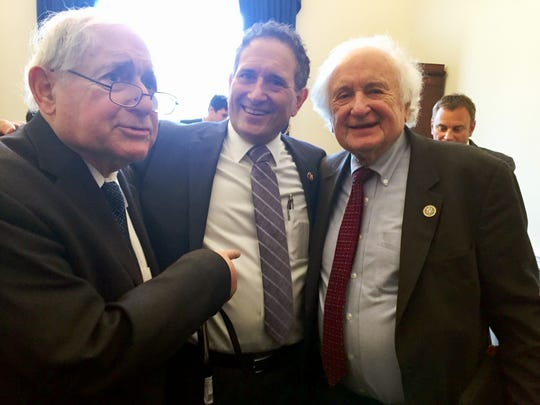 (From left) Former Sen. Carl Levin and Rep. Andy Levin and Andy's father, former Rep. Sander Levin in Andy's new congressional office  in Washington D.C. on Thursday, January 3, 2019.