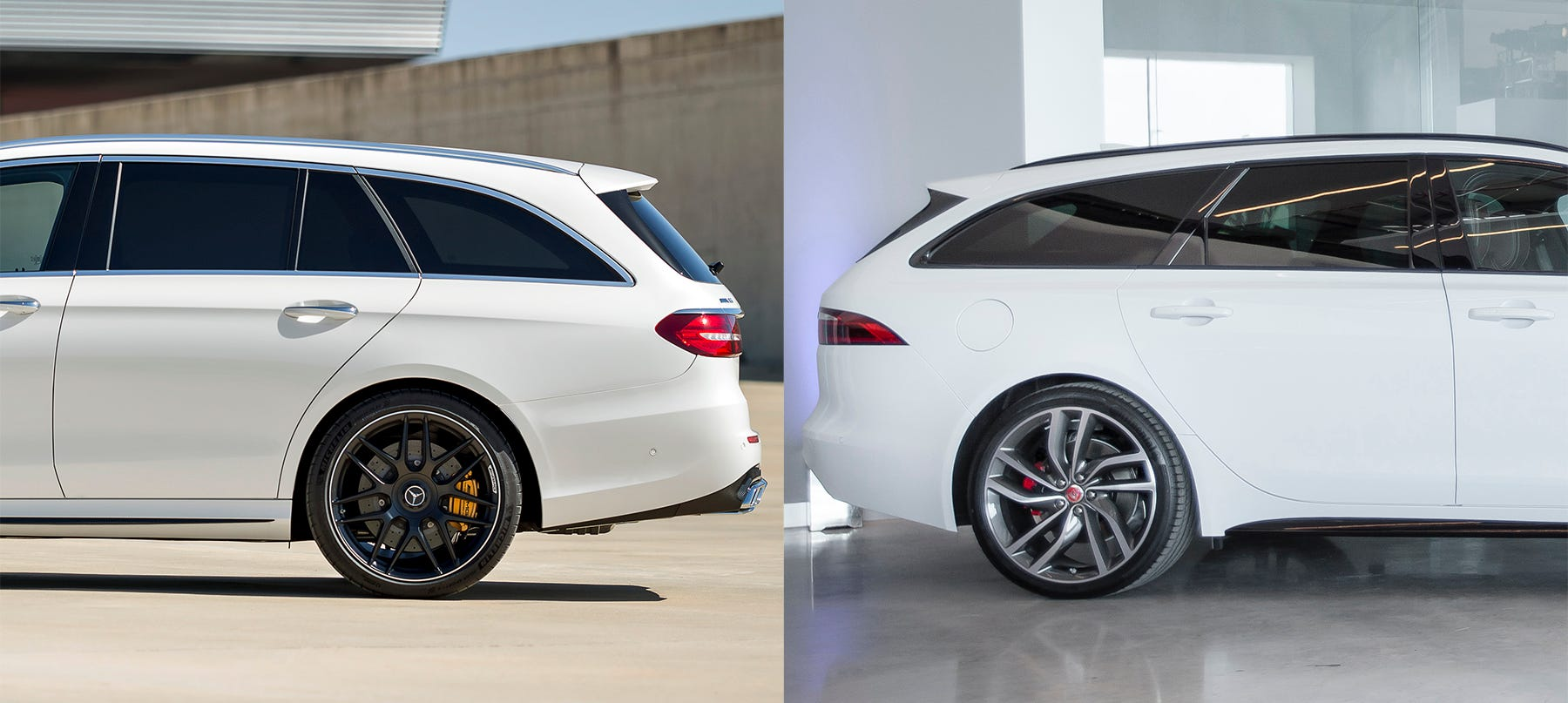 Detroit News auto reviewer Henry Payne compares the 2018 Mercedes AMG E63 S, left, and the Jaguar XF Sportbrake wagons cheek to cheek.