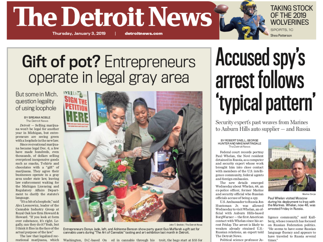 The front page of The Detroit News on Thursday, January 3, 2019