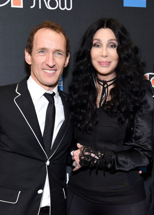 """Jeffrey Seller and Cher arrive at """"The Cher Show"""" Broadway Opening Night at Neil Simon Theatre on December 03, 2018 in New York City."""