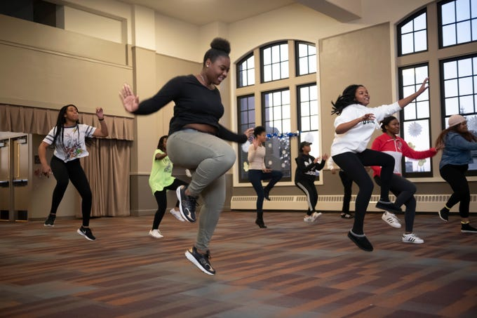 "Students perform a dance routine as part of auditions at the Mosaic Youth Theater of Detroit, Thursday, Jan. 3, 2019. The theater recently received a gift of $1 million from ""Hamilton"" producer and Oak Park native Jeffrey Seller."