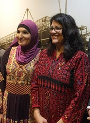 Both wearing Palestinian thobes, Rep. Rashida Tlaib poses for a photo with Linda Sarsour, a leader of the Women's March, on Capitol Hill  in Washington D.C. on Thursday, January 3, 2019.