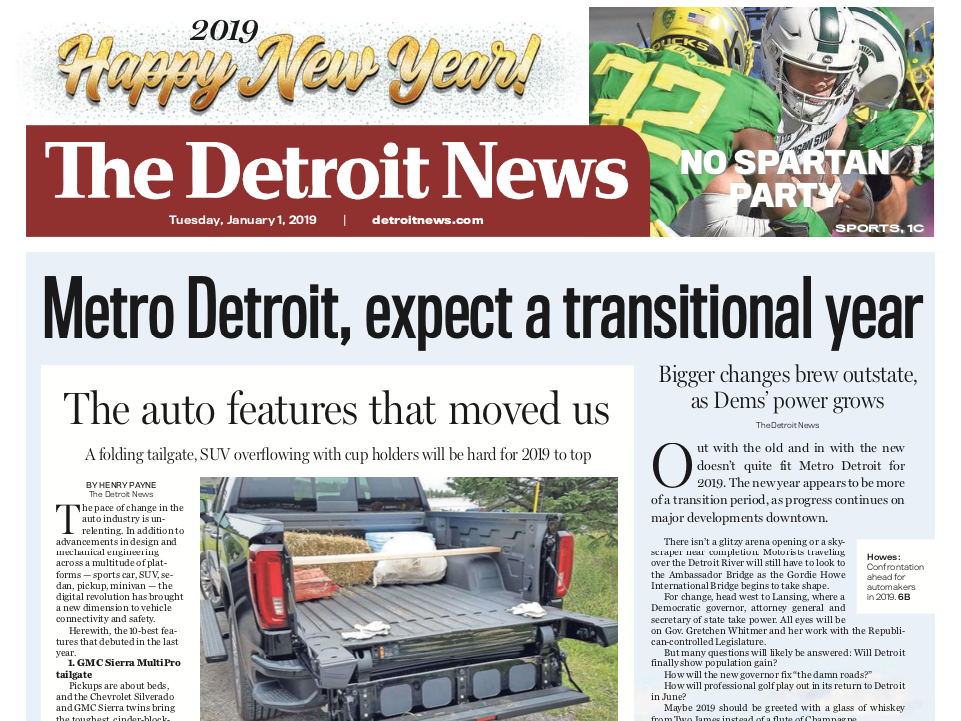 The front page of The Detroit News on Tuesday, January 1, 2019