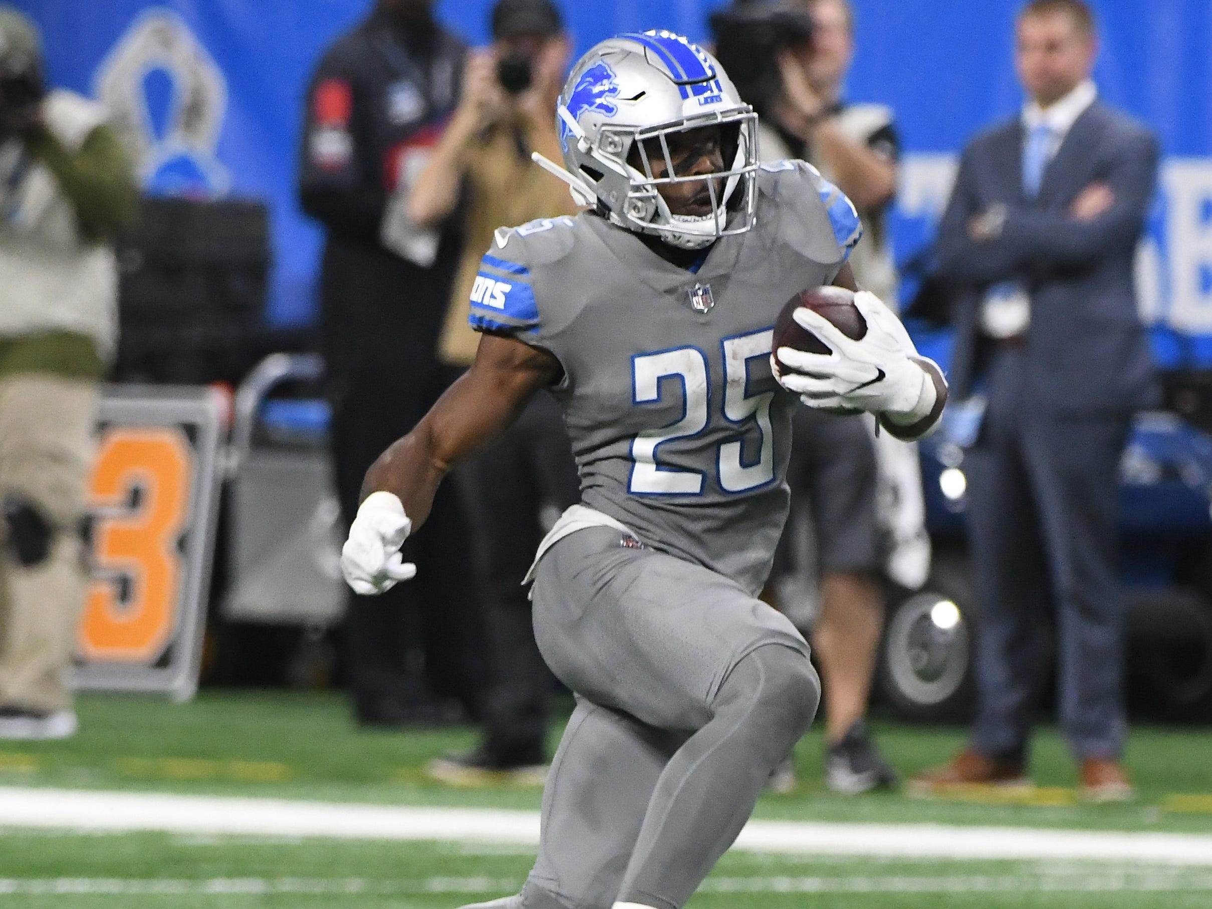 RB Theo Riddick: It's unclear whether defenders have figured him out or he's actually lost a step, but Riddick wasn't anywhere near as elusive as he's been in the past. As a receiver, the bread and butter of his skill set, he caught 61 passes. But his 6.3 yards per catch were a career-low. That's because he wasn't making defenders to miss. After forcing an average of 24 missed tackles as a receiver the past three seasons, Riddick mustered just seven in 2018, according to Pro Football Focus. Grade: C