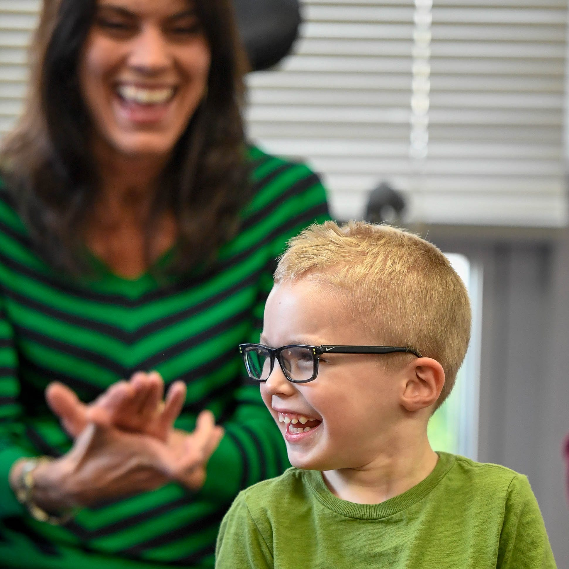 New Easterseals Rehabilitation Center ambassadors, aged 4 and 44, are 'buddies'