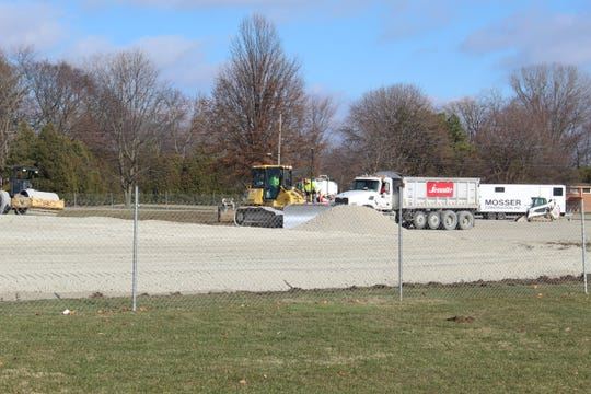 Work continued Thursday at Croghan Elementary School in Fremont on a new elementary school building.