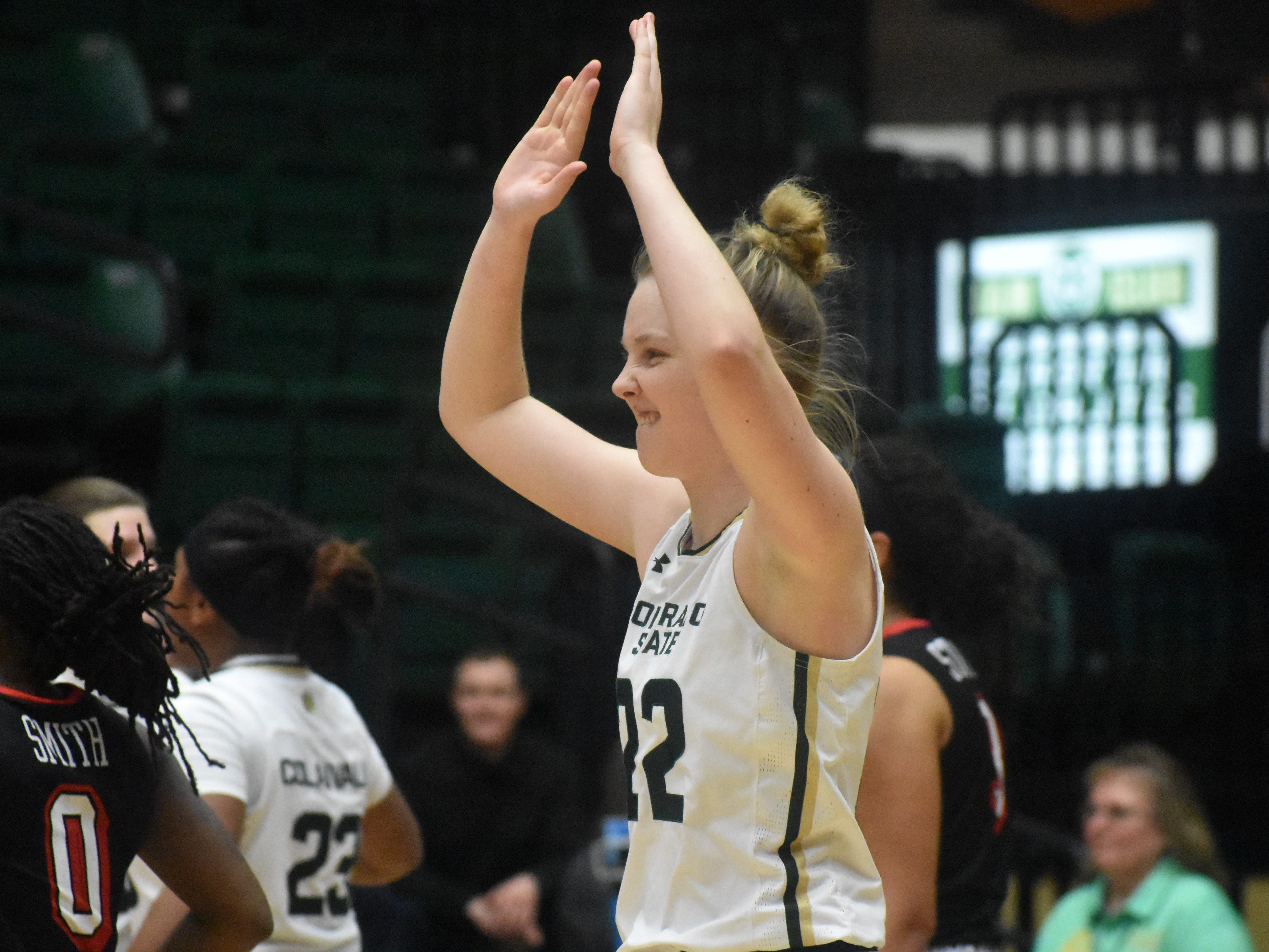 Colorado State guard Lauren Brocke celebrates after the Rams beat UNLV 52-49 on Wednesday at Moby Arena.