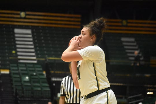 Colorado State basketball guard Myanne Hamm, shown in a file photo, led the Rams in scoring in Saturday's loss to New Mexico.