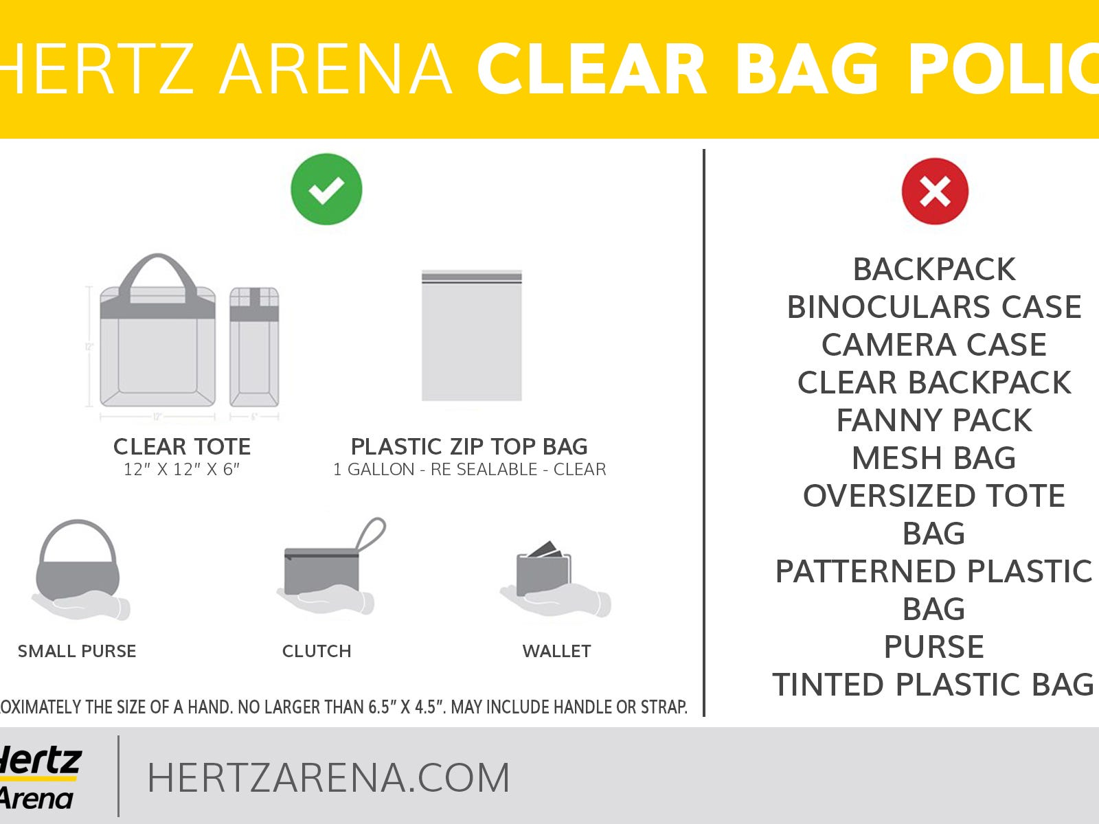 A diagram of Hertz Arena's new bag policy