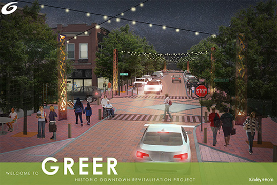 A rendering from the city of Greer shows the latest plans for the city's new-look downtown after a streetscape project is completed.
