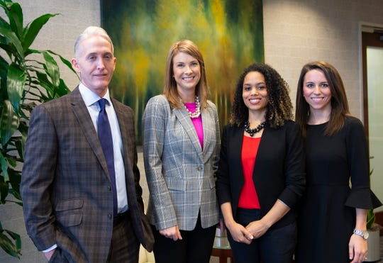 From, left, former U.S. Congressman Trey Gowdy, Cindy Crick, Sheria Akins Clarke, and Mary-Langston Willis will be working at Nelson, Mullins, Riley and Scarborough in Greenville. Photo taken Thursday, Jan. 3, 2019.