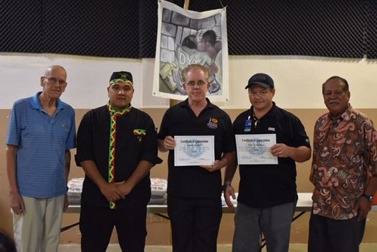 "Jamaican Grill served some ""Yah mon, serious food!"" on Dec. 24, 2018 at DYA's Youth Correctional Facility in Mangilao. Jamaican Grill's owner Frank Kenney, Chef Edinhar Sebastian and Dan Huck handed out over 20 meals to the client's currently in DYA custody as well as personnel on duty. Jamaican Grill has been serving lunch every Christmas Eve at DYA for the past three years. Pictured: Dan Huck, Jamaican Grill Chef Edinhar Sebastian, Jamaican Grill Owner Frank Kenney, DYA Chef Jesse Guzman, and DYA Director Peter Alecxis Ada."