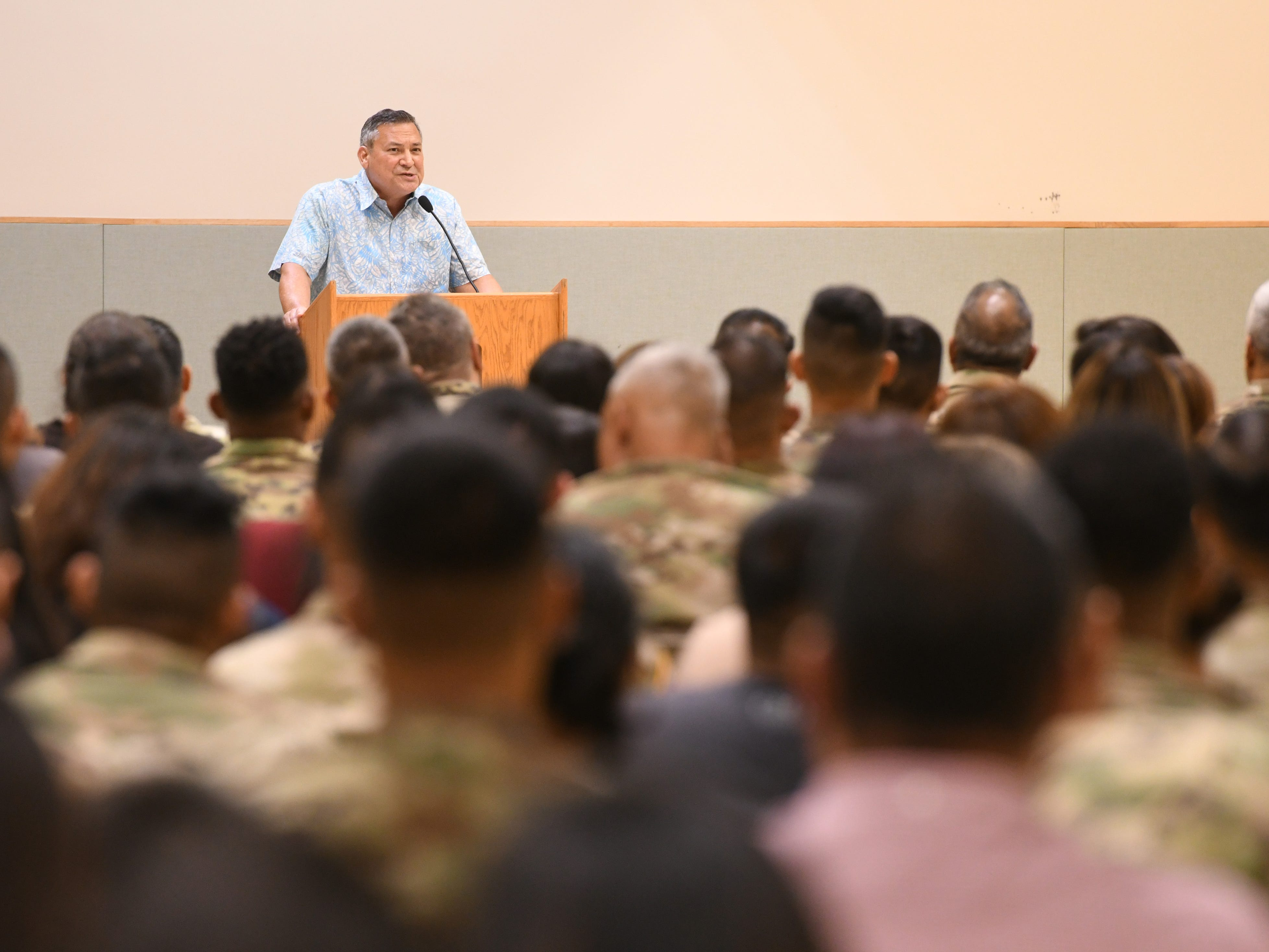 Gov. Eddie Calvo speaks to 71 soldiers of the Guard's 254th Security Forces 1st-294th Infantry Regiment, along with their families, friends and other supporters during a mobilization ceremony at the Guard's compound in Barrigada on Thursday, Jan. 3, 2019. The soldiers were recgonized during the event as they prepare to undertake a yearlong mission to provide security for the Terminal High Altitude Area Defense Site at Andersen Air Force Base, according to a Guard release.