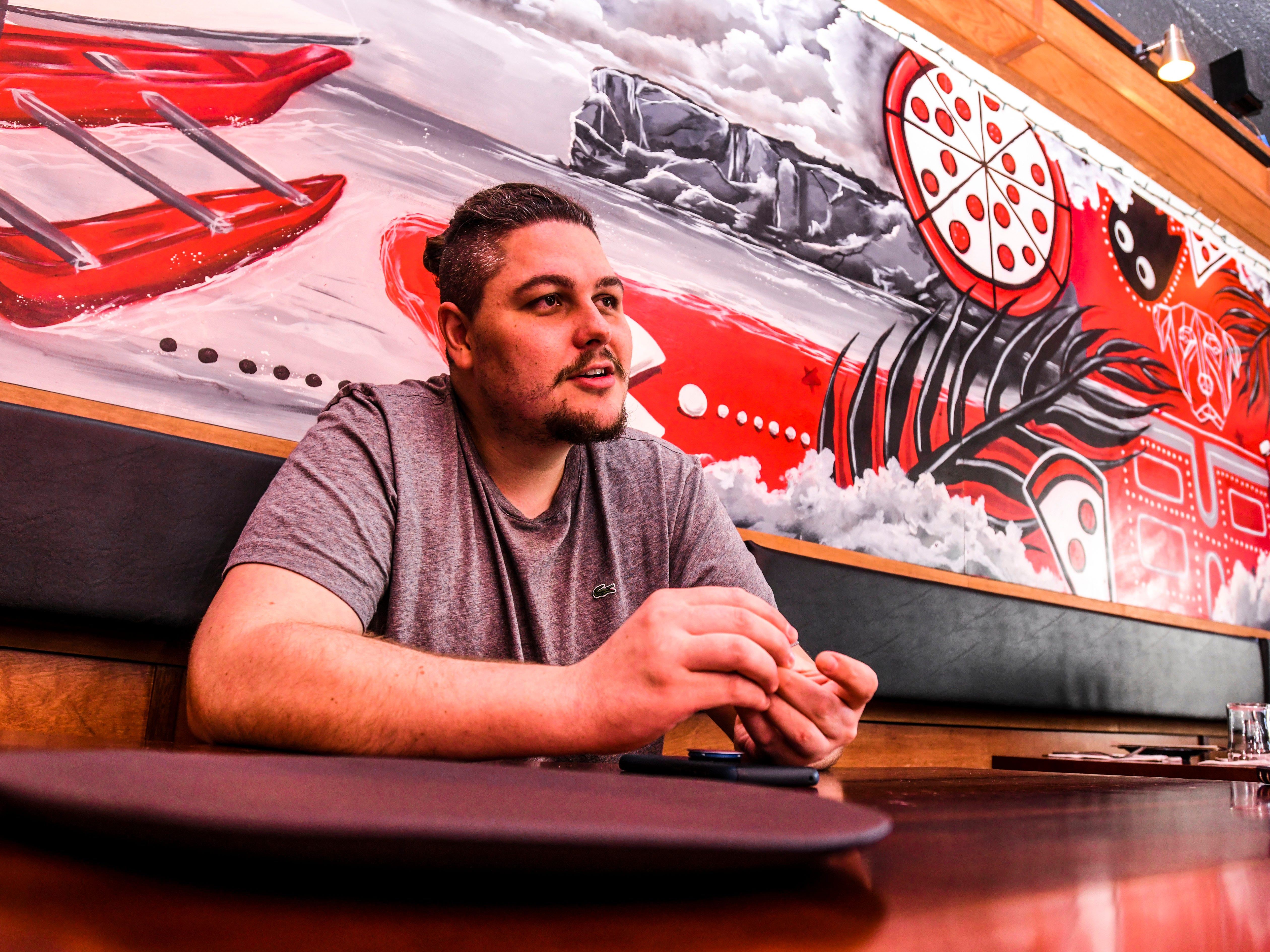 Dylan Saad, chef and owner of Primo Pizzakaya, talks about the talents possessed by the diverse group that makes up the staff at his pizzaria-type restaurant in Tumon, during an interview on Wednesday, Jan. 2, 2019.