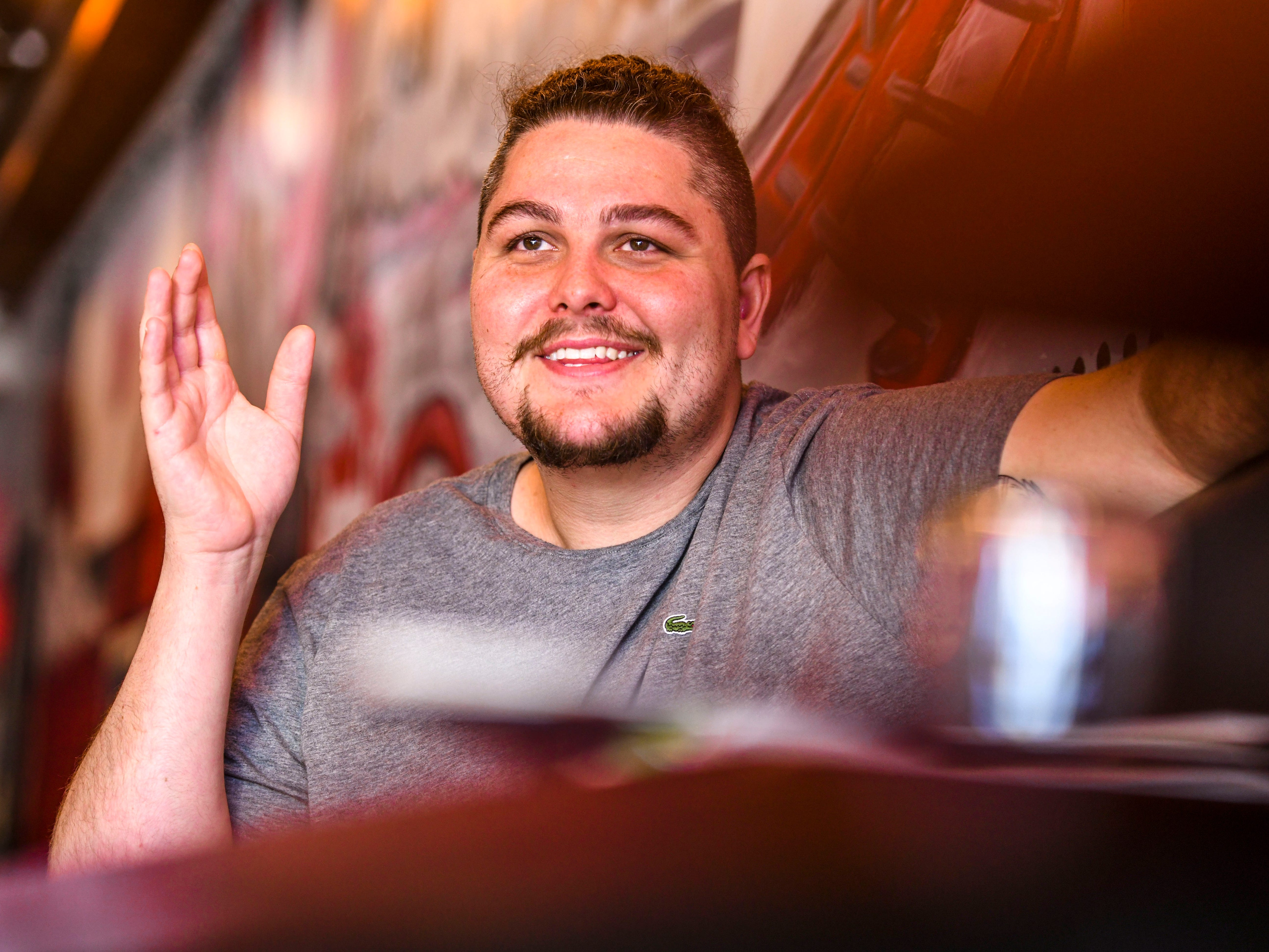 Dylan Saad, chef and owner of Primo Pizzakaya, jokes about his earlier endeavors of education prior to realizing his passion of the culinary arts and the opening of his pizzaria-type restaurant in Tumon, during an interview on Wednesday, Jan. 2, 2019.