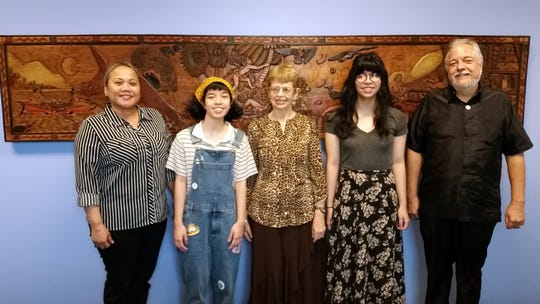 The University of Guam announced students Hunter Orland and Madison Orland as the recipients of Dr. Rebecca A. Stephenson Scholarships, both valued at $1,000, for the 2018–2019 academic year. The recipients are fraternal twin sisters and are both freshmen fine arts majors in the College of Liberal Arts and Social Sciences. From left: Sharleen Santos-Bamba, associate dean of the University of Guam College of Liberal Arts and Social Sciences; Hunter Orland, Rebecca A. Stephenson, UOG professor emerita of anthropology; Madison Orland and James Sellmann, dean of the CLASS.