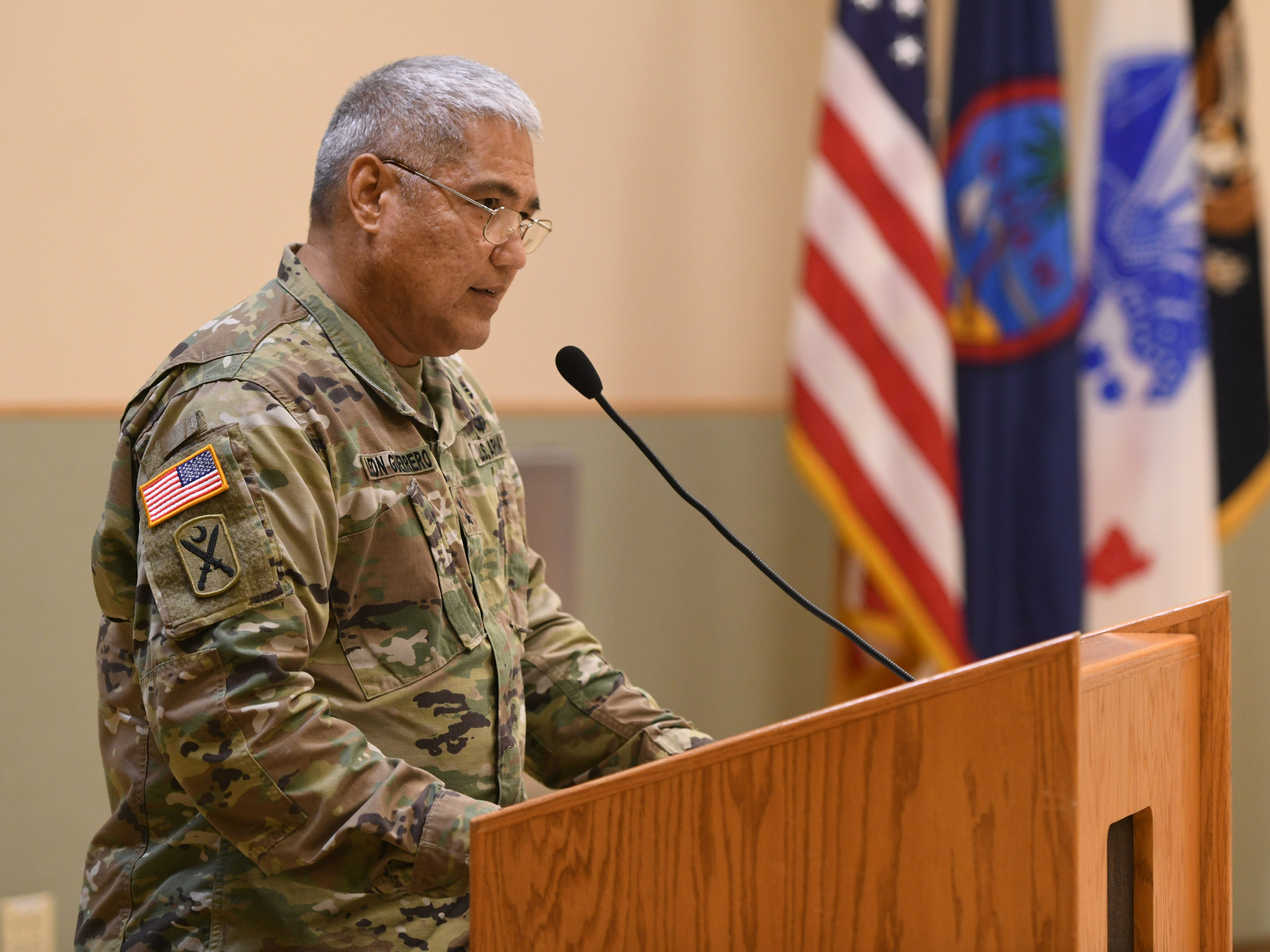 Guam Army National Guard Adjutant General Maj. Gen. Roderick Leon Guerrero addresses 71 soldiers of the Guard's 254th Security Forces 1st-294th Infantry Regiment, along with their families, friends and other supporters during a mobilization ceremony at the Guard's compound in Barrigada on Thursday, Jan. 3, 2019. The soldiers were recgonized during the event as they prepare to undertake a yearlong mission to provide security for the Terminal High Altitude Area Defense Site at Andersen Air Force Base, according to a Guard release.